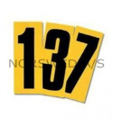 Black Adhesive Number, Yellow Background