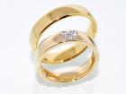 SUPERDEAL! Forlovelsesringer i gult gull med diamanter 0.09 cara