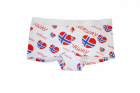 Dameboxer med norsk flagg, hvit