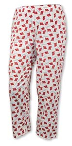 Image of Pajama pants with Norwegian flags, White