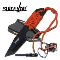 Survivor Neck-Knife med Firestarter - Orange
