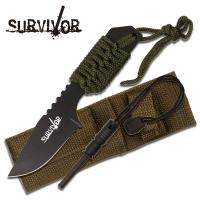 Survivor Outdoor Kniv med Firestarter - Grønn
