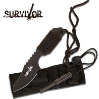 Survivor Outdoor Kniv med Firestarter - Sort