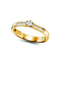 Bilde av Gult gull ring med 11