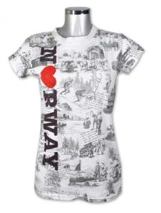Bilde av Dame t-skjorte, tresnitt Norway