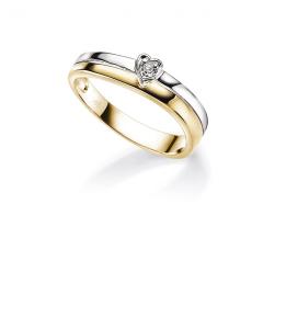 Bilde av Hjertering 2-farget ring med