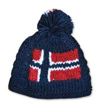Image of Hand knitted hat in blue with Norwegian flag