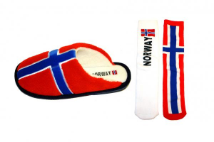 Image of Slippers in the Norwegian flag w / socks
