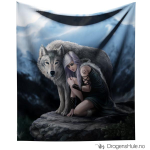 Bilde av Pledd: Anne Stokes: Wolf Protector -160x160cm