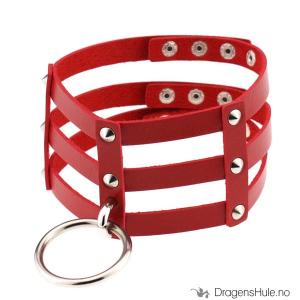 Bilde av Naglehalsbånd: Gitter og O-ring, rød -32-37cm