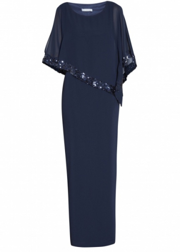 Cape sequin dress navy