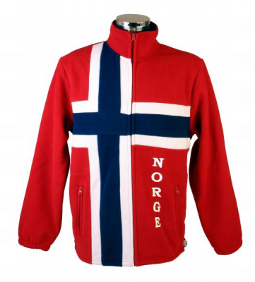 Fleece-jakke i norsk flagg