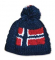 Hand knitted hat in blue with Norwegian flag